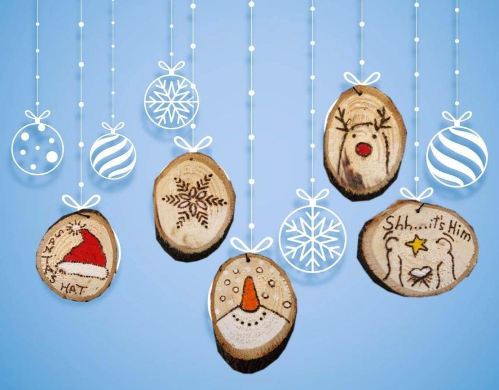 Pyrography Christmas ornaments